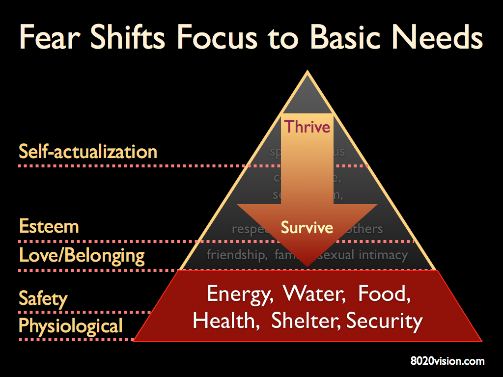 Maslow's Hierarchy of Needs - from thrive to survive