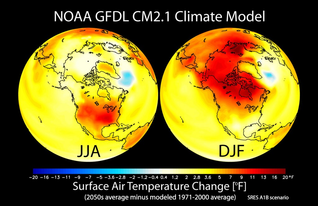 surface air temps change 2050