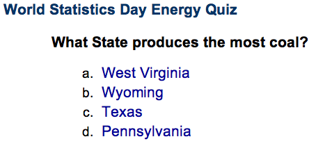 World Statistics Day Energy Quiz