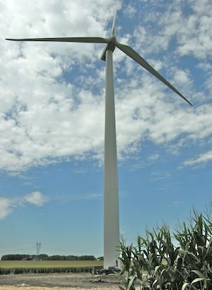 GE wind turbine in corn field
