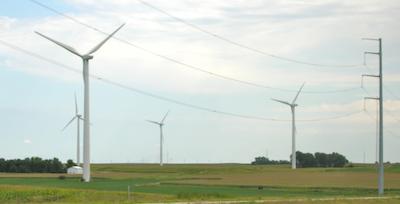 GE wind turbine and power lines