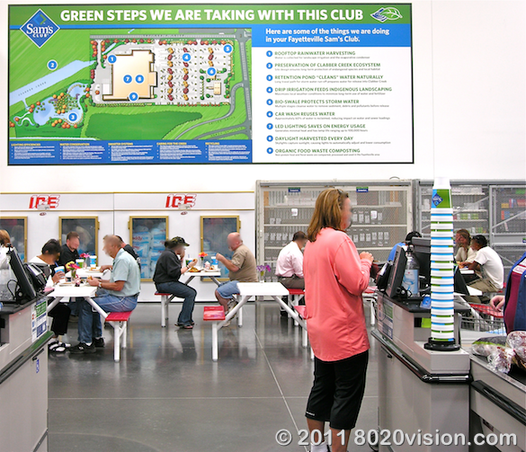 Walmart store green steps program, sign at check out