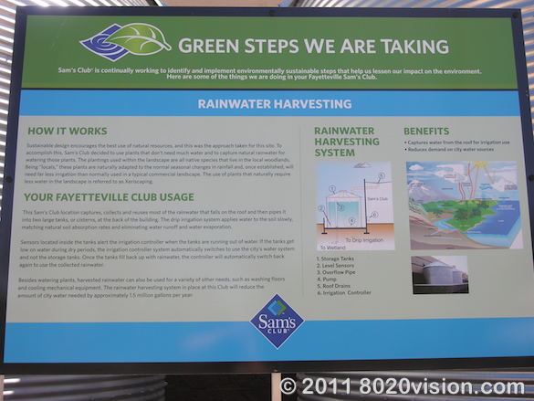 Walmart store green steps program, rain water harvesting description