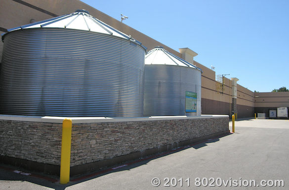 Walmart store green steps program, rain water harvesting catchment tanks at back of store