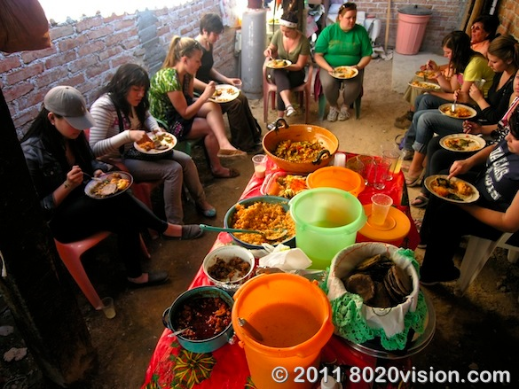 Comida - Sharing a meal with the women of the cooperative farm at Penon de los Banos, Mexico