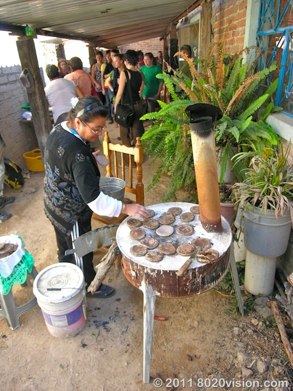 Cooking gorditas at Penon de los Banos farm cooperative, Mexico