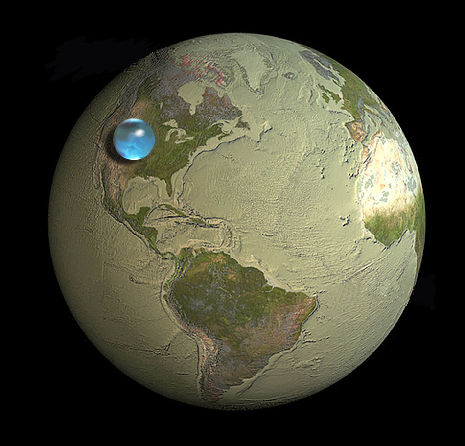 global water volume, USGS, earth water